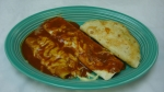 E  - Bean burrito,quesadilla and spinach enchilada